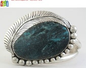 SALE - 50% Off Original Price.   Native American Sterling Silver and Turquoise Cuff Bracelet - Size 7""