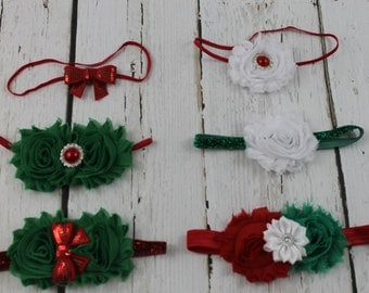 Baby Girl Christmas Headband Red Green Headband Girl Headband Newborn Christmas Headband Baby Girl Red Bow Headband