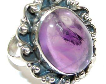 Amethyst Sterling Silver Ring - weight 8.80g - Size 9 1 2 - dim L -1 1 4, W -1, T -1 4 inch - code 1-gru-15-9