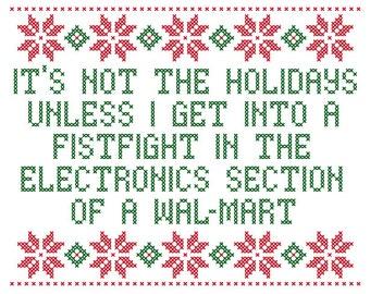 PDF PATTERN It's not the holidays unless cross stitch