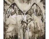 Dark Angel Painting, Black and White Watercolor Angel Fine Art Print, Sepia Ink Dark Wings Illustration, Goth Artwork, Dark Soul Drawing
