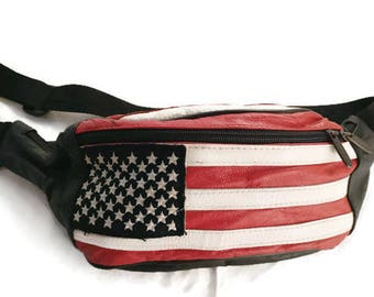 Vintage American FLAG Fanny Pack purse