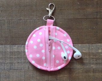 Circle Zip Earbud Pouch / Coin Purse - Light Pink and White Polka Dots Ann Kelle