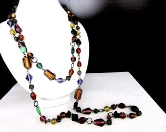 Extra Long Necklace Venetian Murano Glass Beads 50 Inches Single Strand Vibrant Jewel Colors