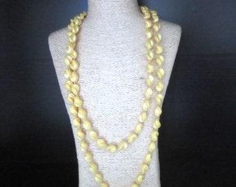 Long Resin Necklace Yellow Swirled Beads Aurora Borealis Finish 46 Inches Single Strand