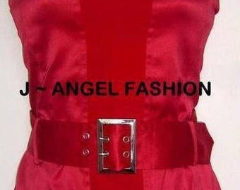 Tailored Red Corset Top with Waist Belt Size UK 12