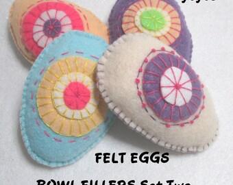 SET Two DECORATIVE EGG Bowl Basket Fillers Set of Four Easter Holiday Home Decor