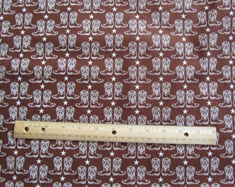 Riley Blake Brown Cowboy Boots Cotton Fabric by the Yard