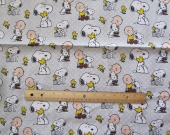 Gray Peanuts/Charlie Brown/Snoopy/Woodstock Polka Dot Flannel Fabric by the Half Yard