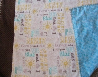 White My Sunshine/Skies Are Blue Double-sided Flannel Baby/Todddler Blanket