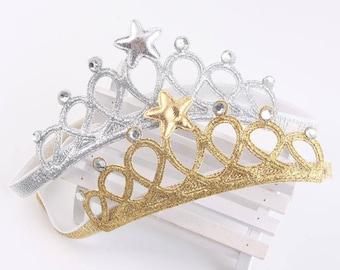 Princess Crown-Birthday Crown- Crown Baby headband-  Glitter felt crown- SILVER or GOLD - Elastic crown headband