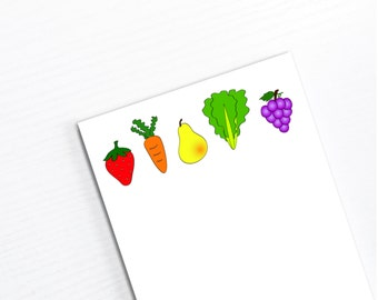Cute Grocery List Notepad, Handmade Shopping Paper Pad, Things to Buy, Fruits & Vegetables, Gift Under 10