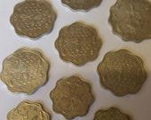Lot of 9 Malta Mils Coins - Aluminium Flower Shaped Honeycomb Bee Coins - Maltese Aluminum