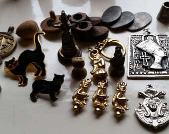 Selection of Unusual Lucky Charms - Cats, Pixies, Fairies, Egyptian, Symbols Etc