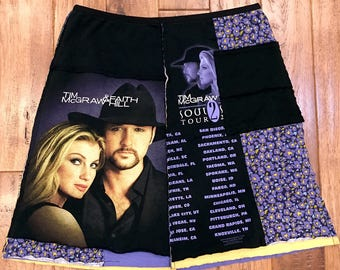 Tim McGraw and Faith Hill upcycled skirt, women's upcycled clothing, upcycled skirts, countrymusic festival, upcycled recycled repurposed