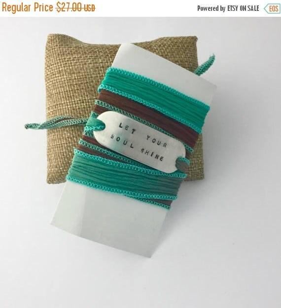 Yoga Jewelry - Let Your Soul Shine - Hand Stamped Bracelet Silk Wrap - Mantra Bracelet - Affirmation - Positive Vibes - Graduation Gift