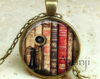 Book pendant, book necklace, book jewelry, bookshelf necklace, bookshelf pendant, gift for bookworm Pendant#HG235BR