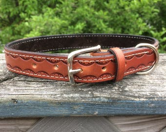 Leather Dog Collar personalized with name, Leather Collar, Hand-tooled leather dog collar, Strong Dog Collar