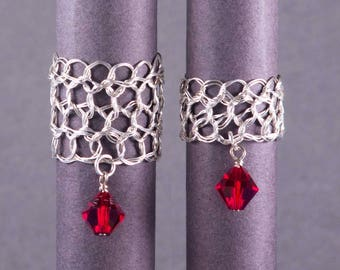 Size 5 Ruby Silver Ring | Red crystal sterling silver filigree rings | July birthstone | Wire crochet jewelry