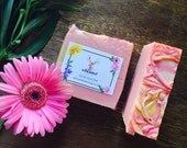 Japanese Cherry Blossom Soap Bar - Scented - Exotic - Fragrance - Handmade - Vegan - Floral - Pink - Wild Heart - Gold