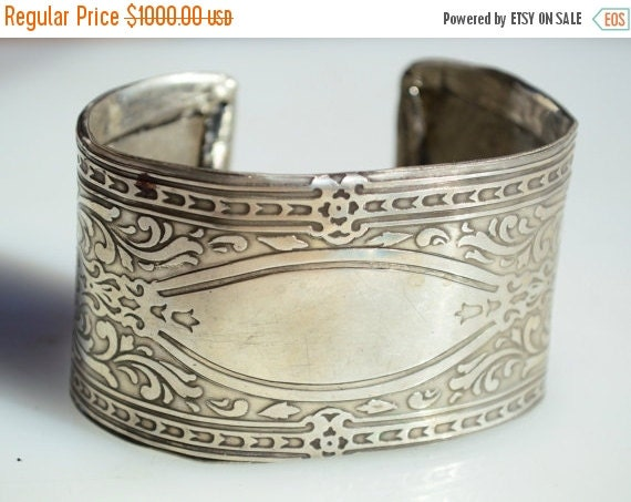 SALE 40% OFF Antique Solid Sterling Silver 925 Tiffany Islamic Etched Repurposed  Art Deco Spartan Warrior Unisex Large Wide Cuff Bracelet M