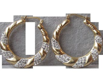Vintage Vermeil Gold Plated Sterling Silver Enamel & Rhinestone Hoop Earrings