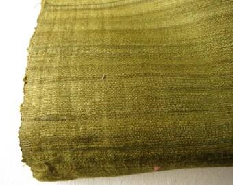 Textured Homespun Indian Green  Wild Silk by Yard