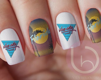Vice City Florida Nail Decal, Nail Art, Statement Florida, Fingernail decal