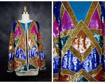 RETRO Color Block Sequin Jacket // Rainbow Sequined Jacket // Fully Embellished Beaded Blazer