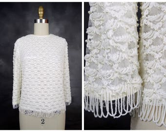 60s Pearl Beaded White Lace Top / Pearl Embellished Vintage Blouse S