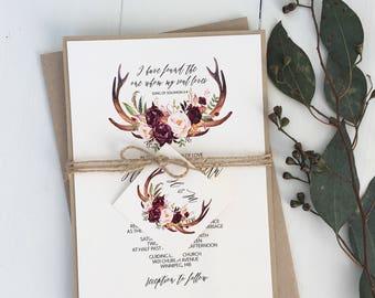 Boho Antler Wedding Invitation, Rustic Wedding Invitation, Floral Antlers, Marsala Floral, Floral Wedding Invitation, boho, bohemian