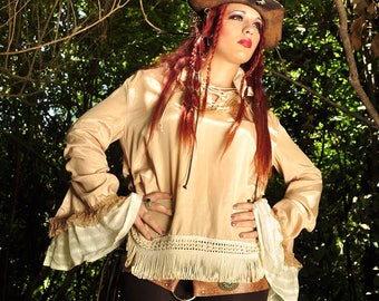 UNISEX CREAM SHIRT, renaissance, ruffles, brown lace, steampunk, pirate, victorian, captain, edwardian, goth, dark, handmade, unique, napa