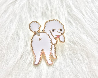 new* white Poodle Butt hard enamel pin 1.25in