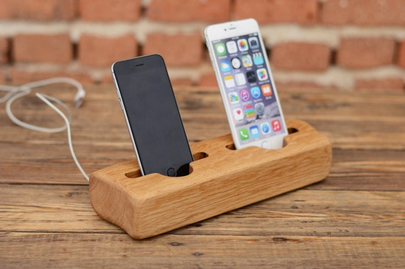 Wooden Charging Dock ~ Wooden double charging station iphone dock