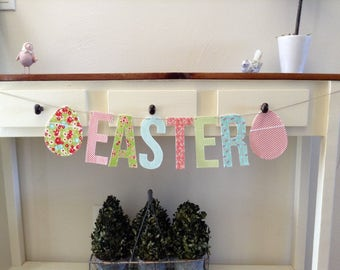 Easter Banner, Sign, Garland, Bunting, Spring Colors, Decor, Pastel, Eggs, Blue, Pink, Green, Stripes, Floral, Reusable, Eco Friendly,