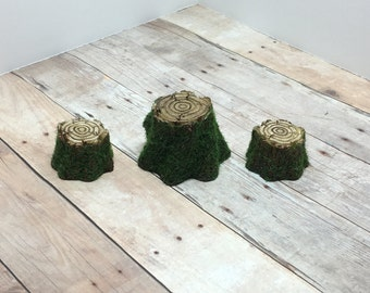 Fairy Garden Log Table and Chair Set miniature terrarium broken pot pixie gnome faerie