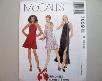 Vintage McCalls 7659 Halter Dress Sewing Pattern - Never Used - Misses Size 10, 12, 14 Summer Dress Pattern - Vintage Sewing Supplies