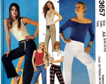 McCall's 3657 Sewing Pattern Low Waist Pants Jeans or Lace Up Styles Size 6 8 10 12 Uncut Factory Folds