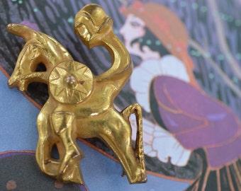 Vintage Brooch Pin by Arthus Bertrand Paris  Knight on Horseback 1950-1960s