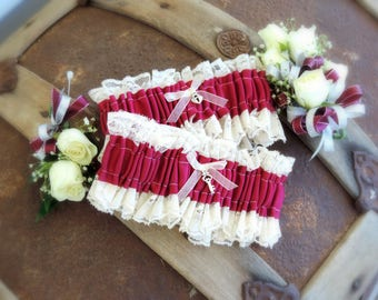 Custom Garter set wedding garter prom garter ribbon and vintage lace garter wedding accessories throw garter keepsake garter