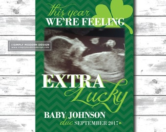 st pattys day pregnancy announcement,we're feeling lucky, card, march pregnancy announcement, new baby, we got lucky, PRINTABLE or PRINTED