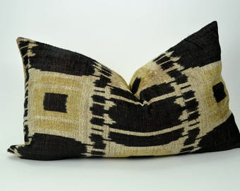 black ikat pillow case // black and yellow pillow // black velvet ikat cushion // silk ikat cushion