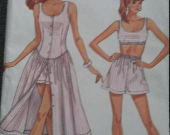 UNCUT and FF Pattern Pieces Vintage Butterick  6451 Sewing Pattern Dress, Top, and Shorts Size 6-8-10