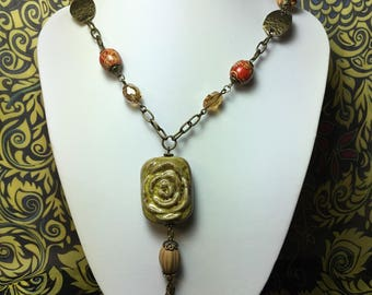 Painted Wood and Czech Glass beaded necklace .