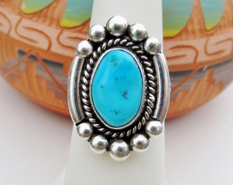 Navajo Turquoise Ring Sterling Silver Native American Southwestern Ring Size 6+ Hallmarked Jewelry
