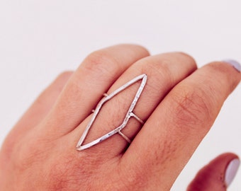 Sterling Silver or Gold-Filled Statement Diamond-Shaped ring | Double Band | Simple, Minimalist, Staple  | Free Shipping on orders 30+