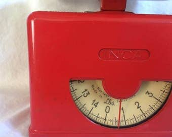 vintage red Swiss scale