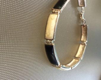 Sterling Silver Link Bracelet with Black and Cream Color Links Marked L.C.