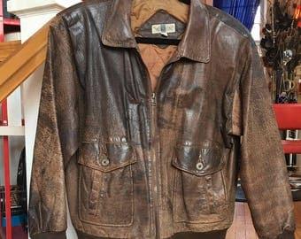1990's Vintage Brown Leather Bomber Jacket with Distressed Look, Men's Medium
