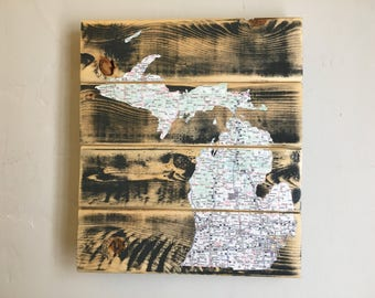 Michigan Map Art, Eco Art, Michigan Map Decoupage, Michigan Art, Michigan Map Decoupaged onto Lumber, Neutral Gray Michigan Wall Art